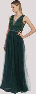Zielona sukienka Maravilla Boutique maxi z dekoltem w kształcie litery v