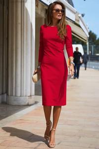 e0fdf26875 Czerwona sukienka Ivet.pl z długim rękawem midi
