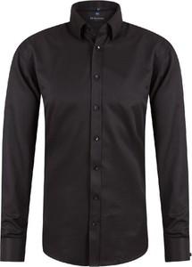Czarna koszula Di Selentino z długim rękawem z bawełny