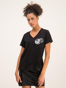 Czarny t-shirt Armani Exchange z dekoltem w kształcie litery v z krótkim rękawem