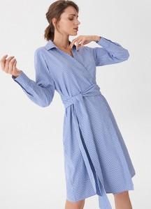 Granatowa sukienka House z długim rękawem