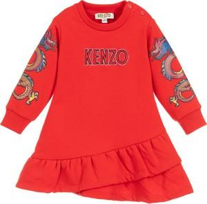 Czerwona sukienka dziewczęca Kenzo Kids z bawełny