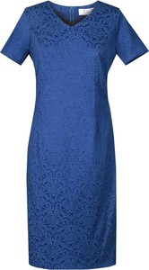 Niebieska sukienka Fokus z dekoltem w kształcie litery v z żakardu