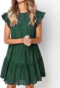 Zielona sukienka Kendallme z okrągłym dekoltem w stylu boho oversize
