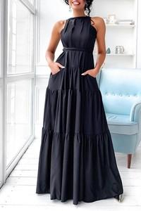 Granatowa sukienka IVET bez rękawów