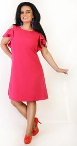 Czerwona sukienka Oscar Fashion z krótkim rękawem