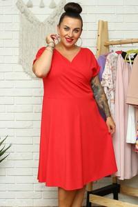 Czerwona sukienka KARKO kopertowa z dekoltem w kształcie litery v