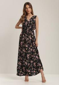 Granatowa sukienka Renee maxi w stylu boho z dekoltem w kształcie litery v