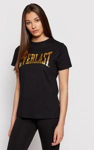Czarny t-shirt Everlast z okrągłym dekoltem z krótkim rękawem z bawełny