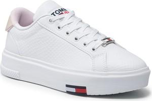 Buty sportowe Tommy Jeans sznurowane ze skóry