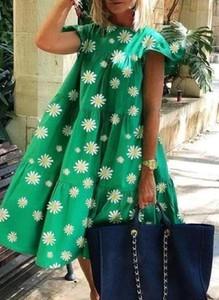 Zielona sukienka Sandbella z okrągłym dekoltem mini