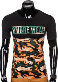 Pomarańczowy t-shirt Ombre Clothing z krótkim rękawem z bawełny w militarnym stylu