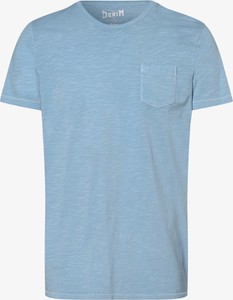 Niebieski t-shirt DENIM by Nils Sundström w stylu casual z bawełny z krótkim rękawem
