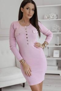 Różowa sukienka Rose Boutique z długim rękawem z okrągłym dekoltem z bawełny