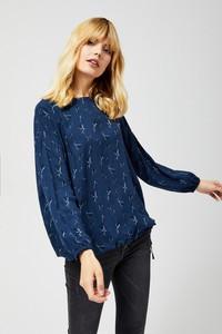 Niebieska bluzka Moodo z długim rękawem z okrągłym dekoltem