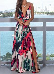 Sukienka Sandbella w stylu casual z dekoltem w kształcie litery v maxi