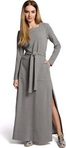 Sukienka MOE z długim rękawem maxi rozkloszowana