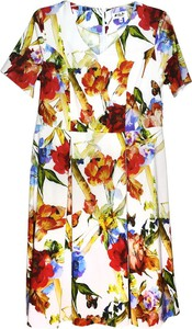 Sukienka Sklepfilloo z krótkim rękawem z dekoltem w kształcie litery v dla puszystych