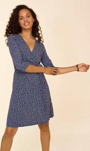 Niebieska sukienka ORSAY z dżerseju mini z dekoltem w kształcie litery v