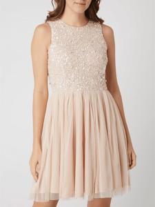 Różowa sukienka Lace & Beads z okrągłym dekoltem z tiulu