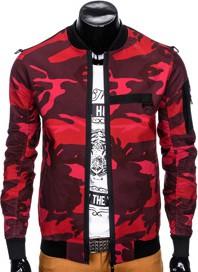 Czerwona kurtka Ombre Clothing w stylu casual z bawełny