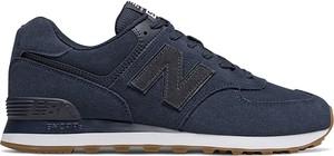 Niebieskie buty sportowe New Balance ze skóry sznurowane 574