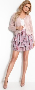 Różowa spódnica Fobya mini w stylu casual z tkaniny