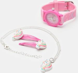 Sinsay - Zegarek, naszyjnik i spinki do włosów - Różowy