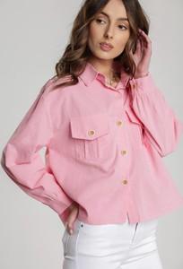 Różowa koszula Renee z długim rękawem w stylu casual