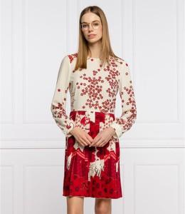 Sukienka Red Valentino mini z długim rękawem z dekoltem w kształcie litery v
