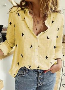Żółta bluzka Sandbella z kołnierzykiem z długim rękawem