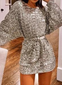 Sukienka Sandbella z okrągłym dekoltem z długim rękawem mini
