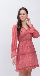 Różowa sukienka Justmelove z dekoltem w kształcie litery v mini w stylu casual