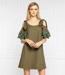 Zielona sukienka Pinko w stylu casual z tkaniny z długim rękawem