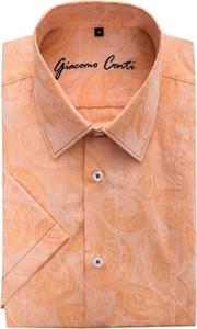 Pomarańczowa koszula Giacomo Conti z klasycznym kołnierzykiem