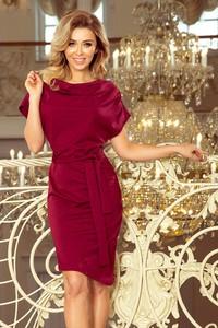 Czerwona sukienka NUMOCO z okrągłym dekoltem z bawełny z krótkim rękawem