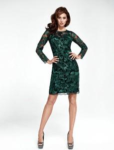 Zielona sukienka Marselini z długim rękawem