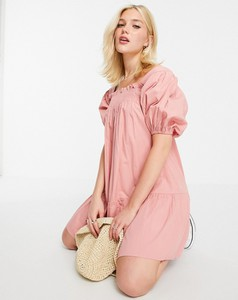 Różowa sukienka Influence w stylu casual z bawełny mini