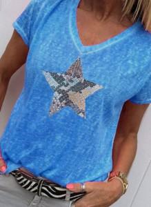T-shirt Sandbella z bawełny z okrągłym dekoltem z krótkim rękawem