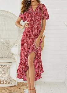 Czerwona sukienka Cikelly maxi kopertowa