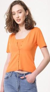 Pomarańczowa bluzka born2be z dzianiny