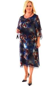 Sukienka Roxana - sukienki z długim rękawem dla puszystych z okrągłym dekoltem