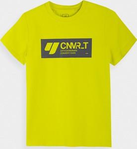 Żółta koszulka dziecięca 4F z bawełny z krótkim rękawem