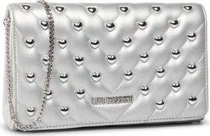 Srebrna torebka Love Moschino mała w stylu glamour zdobiona