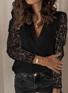 Czarna bluzka Cikelly z dekoltem w kształcie litery v z długim rękawem
