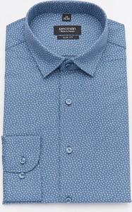 Niebieska koszula Recman z bawełny z długim rękawem