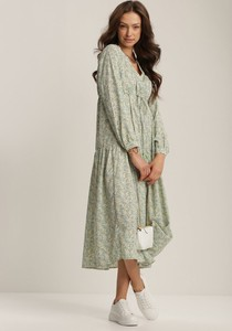 Zielona sukienka Renee w stylu casual z długim rękawem