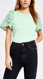 Zielony t-shirt River Island z okrągłym dekoltem z krótkim rękawem