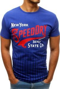 Niebieski t-shirt Dstreet w młodzieżowym stylu z nadrukiem z krótkim rękawem