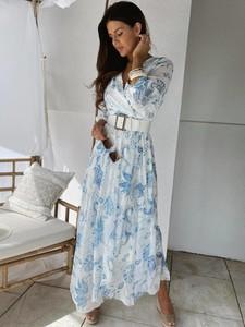 Niebieska sukienka Versada z dekoltem w kształcie litery v trapezowa w stylu casual
